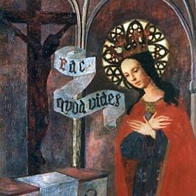 św. Jadwiga Królowa pod czarnym krucyfiksem na Wawelu